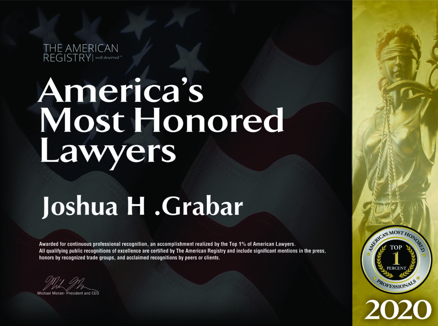 America's most honored lawyers Joshua H. Grabar